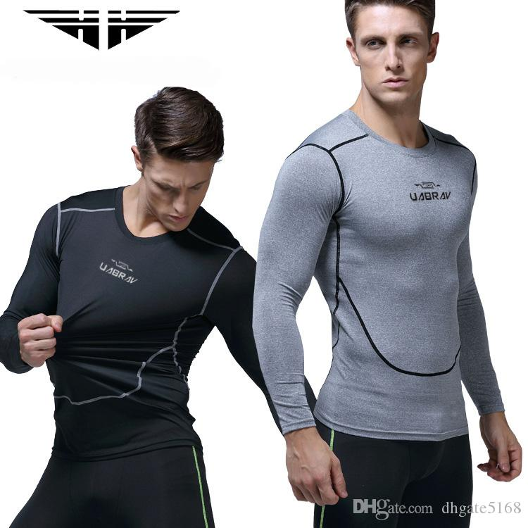 dac23b72f4 2019 Custom Men S Fitness Clothes Long Sleeved Body Hot Shaper Quick Drying  Elastic Sports Tights Basketball Training Running Compression Clothes From  ...