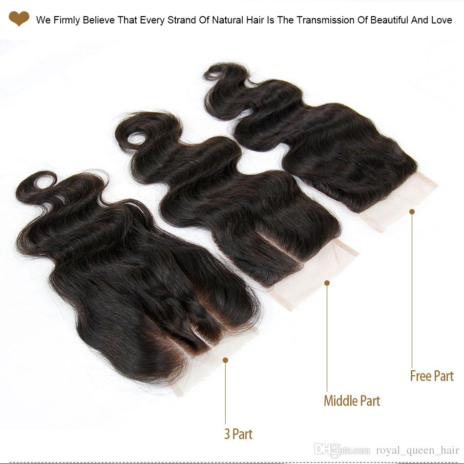 بيرو الجسم موجة الدانتيل إغلاق قطعة الشحن / الأوسط / 3 جزء الصف 6a العذراء بيرو الإنسان الشعر الرباط إغلاق حجم 4x4 أسود اللون الطبيعي