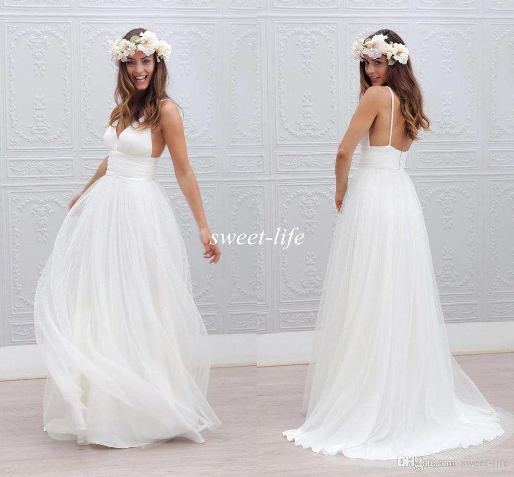 Discount 2016 Boho Summer Beach Wedding Dresses Simple Backless ...