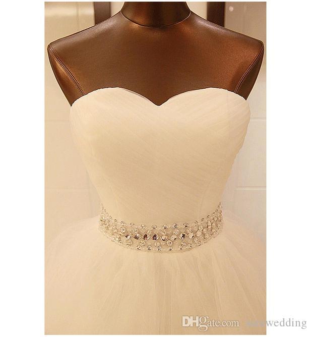 Frisada de Cristal vestido de Baile Vestido De Noiva Com Apliques de Renda 2016 Querida Macio Vestidos de Casamento De Tule Rendas Até