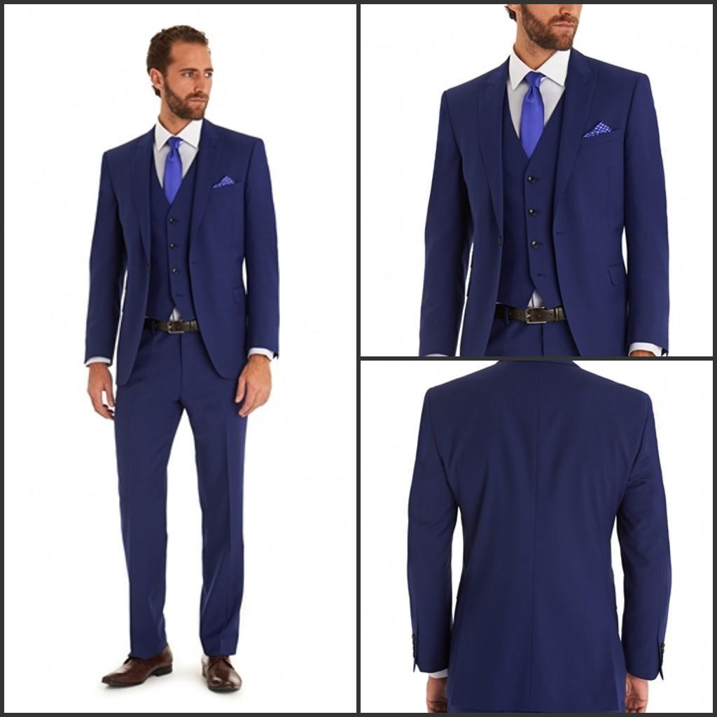 Blue Suit Slim Fit Groom Tuxedos Side Vent Peaked Lapel Groomsmen ...