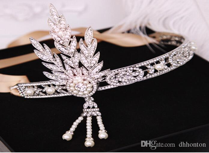 New Great Gatsby Vintage Headbands Hair Bands Headpieces Bridal Wedding Jewelries Accessories Silver Crystals Rhinestone Pearls HT05