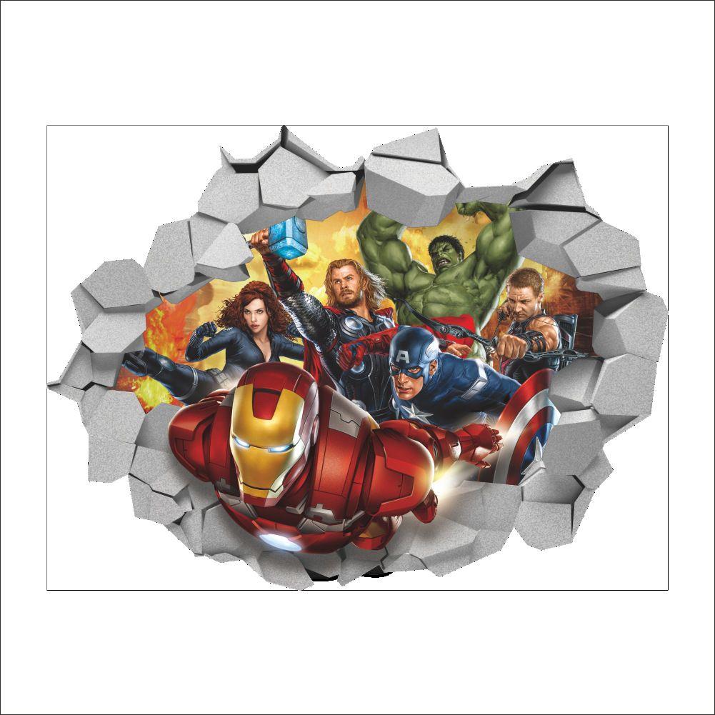 a561afebca6 3D Cartoon The Avengers Wall Sticker Decals For Kids PVC Wall Broken Murals  Wallpaper For Living Room And Kids Room Bird Wall Stickers Black Wall Art  ...