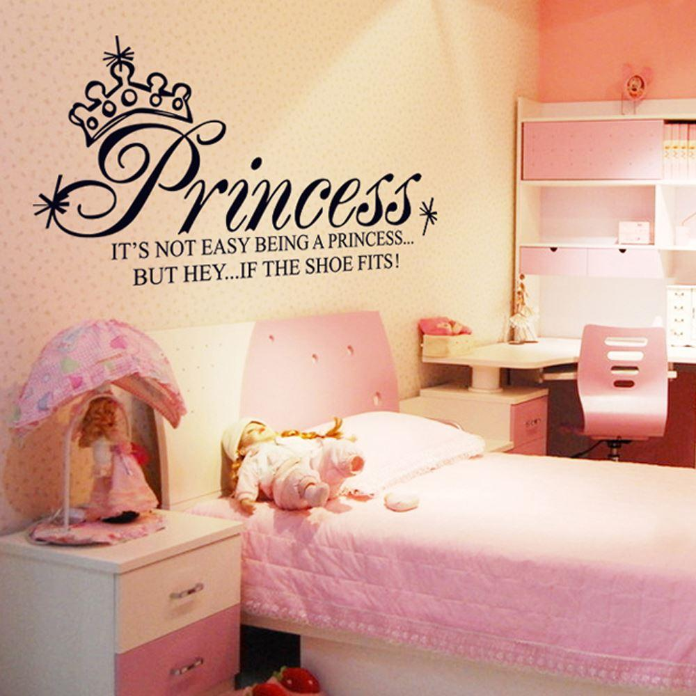 Princess crown letter removable wall stickers art decals mural diy see larger image amipublicfo Images