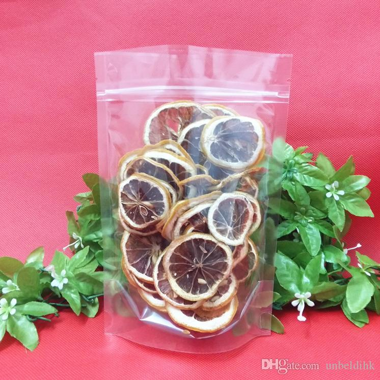10*15+3cm Clear Plastic Zipper Top packing Transparent PE packaging Dried fruits flowers bags stand up Snacks food pouch