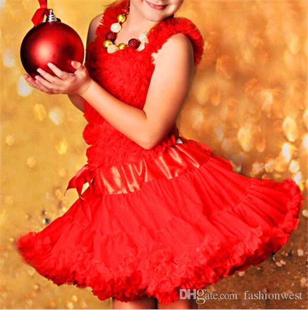 Niñas falda de tutú Baby Baby Girl Dress Niños Niñas Dancewear Cute Chiffon Tutu Pettiskirt Princesa Rose Skirt 3-6Y