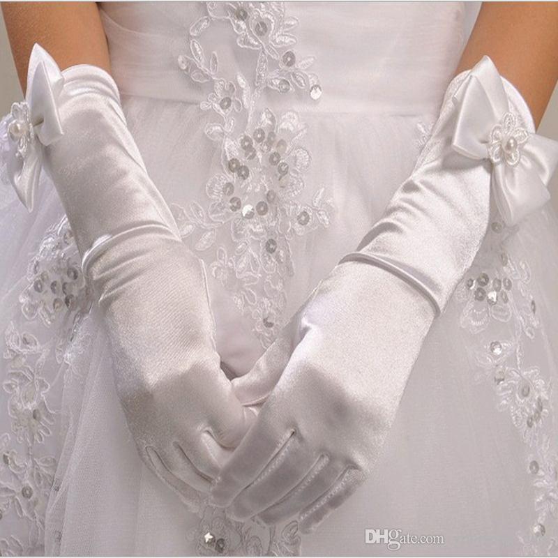 Wunderschöne Blumenmädchen Handschuhe für Hochzeitsparty Kleider 2016 Beste Design Satin Fünf Finger Lange Brauthandschuh