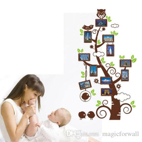 Family Picture Photo Frame Tree Branches Wall Decal Sticker Art Owl on the Tree Branch Wall Decal for Kids Nursery Room Decoration Art Decor