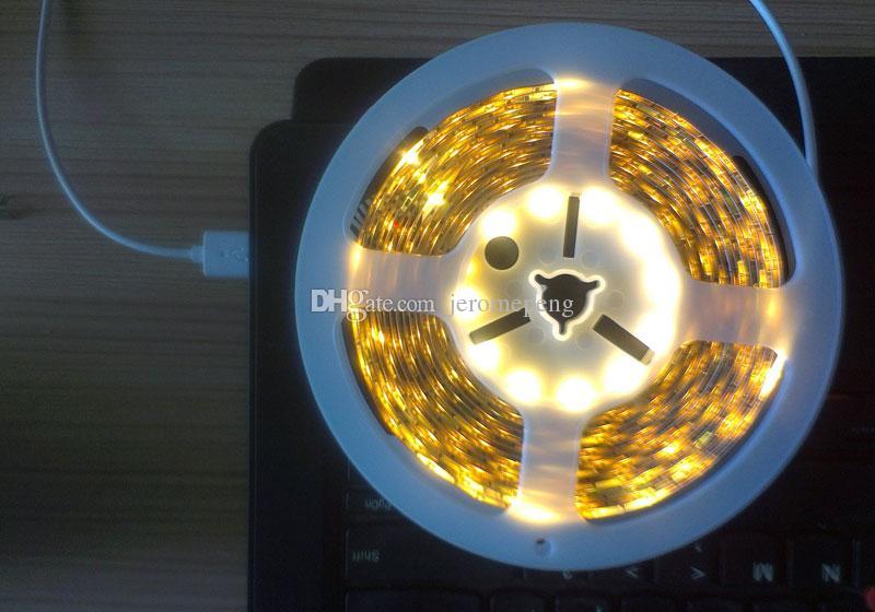 MJJC Superbright 5M 5V DC LED 테이프 라이트 스트립 SMD 3528 300 SMD LED 스트립 USB 따뜻한 쿨 화이트
