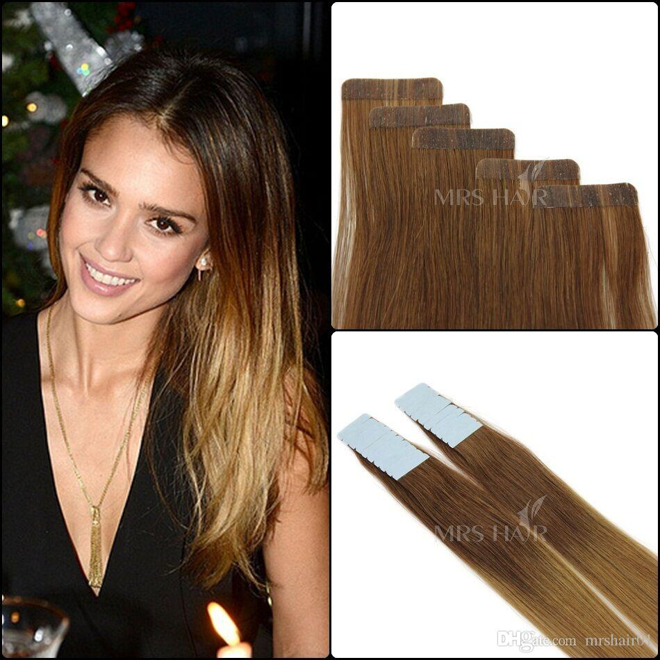 Balayage Ombre Tape Hair Extensions Three Color Tone 6 12 24 Human Remy Skin Weft 20 Pack Thick Colorful Extension Teal