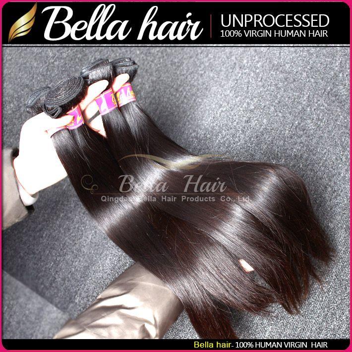 Bella Hair®indian Nieprzetworzone Dziewiczy Naturalny Kolor Ludzki Włosy Uwagi Double Weft Silky Proste 2 Wiązki