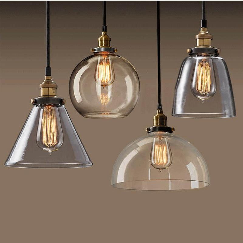 Lightings: Discount Modern Glass Pendant Lightings Edison Led Bulbs