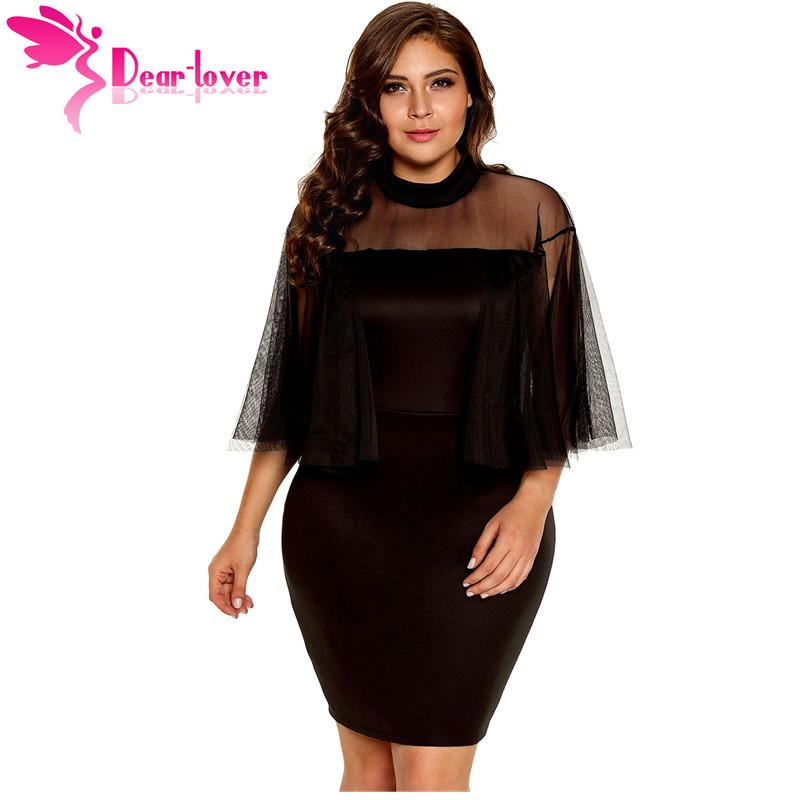Dear Lover Bodycon Dress Plus Size Womens Night Party Sexy Mesh
