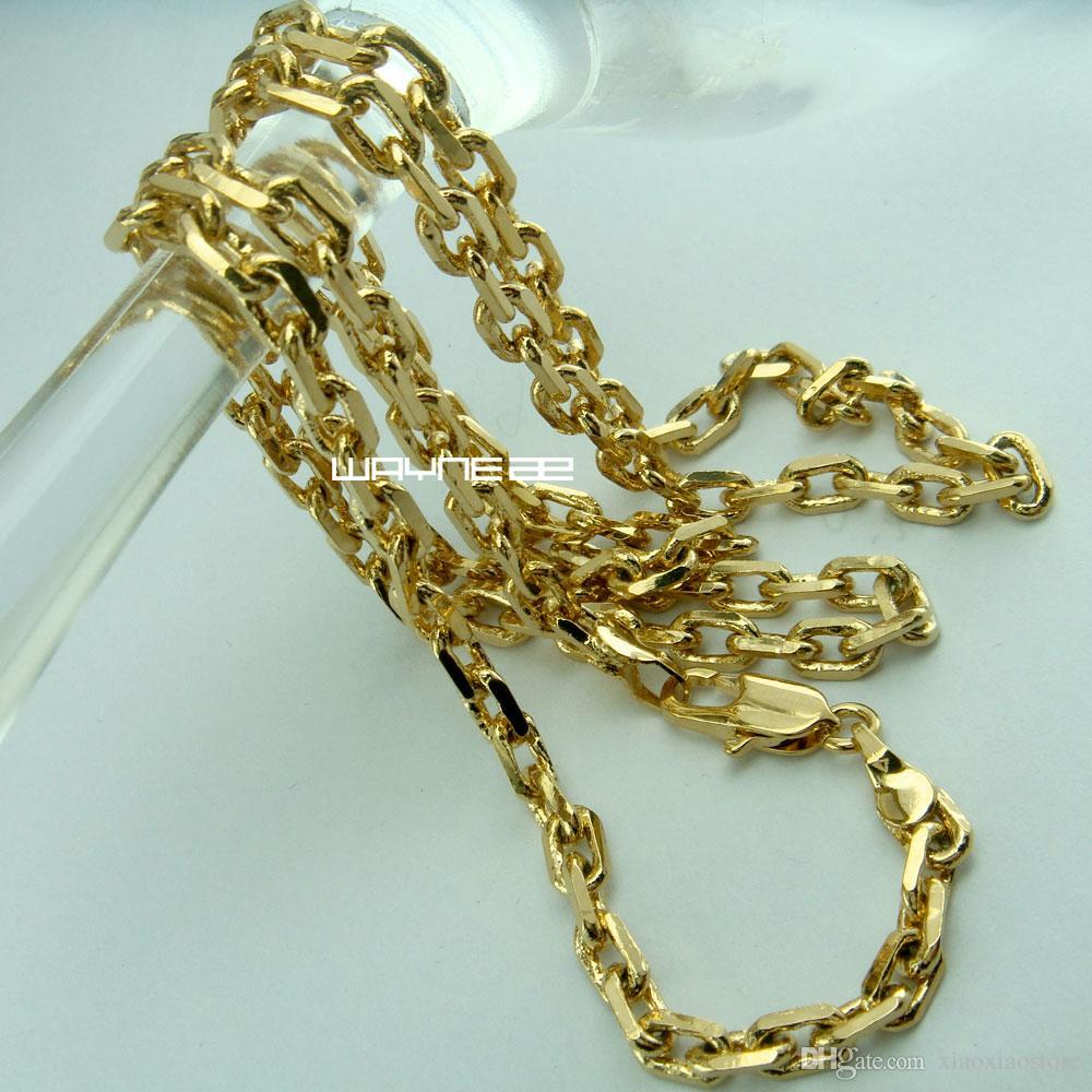 Collana in oro 18K 18CT Gold Filled Uomo 3,5mm larghezza 59cm Lunghezza Collana N286