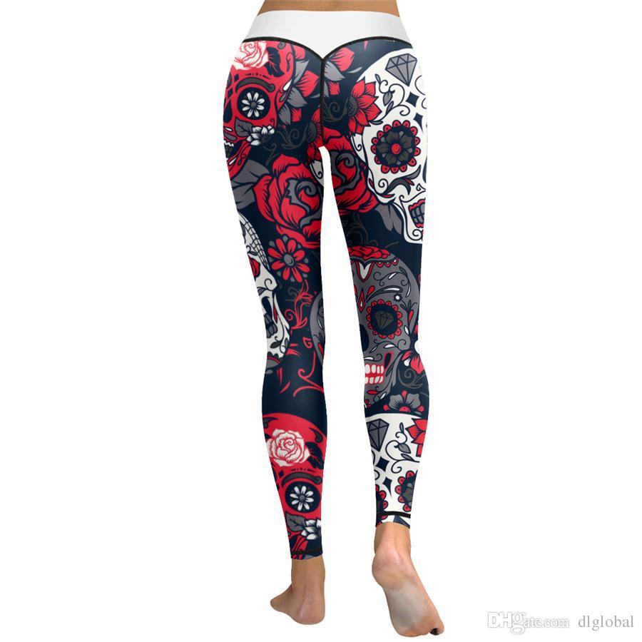 Mode Frauen Kristall Schädel Digital Print Enge Yoga Hosen Halloween Hip Leggings