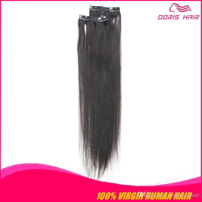 дешевые клип в наращивание человеческих волос высокое качество прямой естественный цвет 7А класс клип в бразильский индийский монгольский человеческих волос расширение