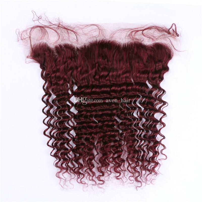 Популярный цвет вино красный 99J человеческих волос 3 пучки с кружевом фронтальная Бургундия глубокая волна вьющиеся волосы с уха до уха фронтальная 13x4