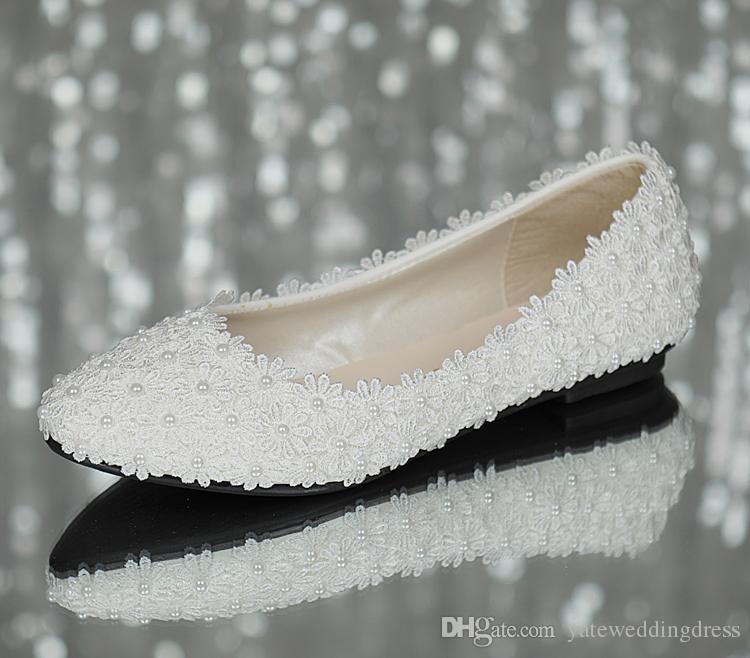 Perla Nuziale bianca del pizzo di Flattie poco costosa in azione Pattini convenzionali del partito di promenade di trasporto libero delle signore delle scarpe nuziali di trasporto libero pronte spedire 2015