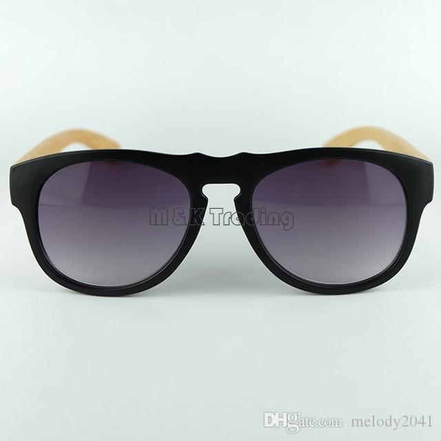 Holz Sonnenbrille Schwarze Vintage Sonnenbrille für Frauen und Männer Große Kunststoffrahmen Bambus-Tempel