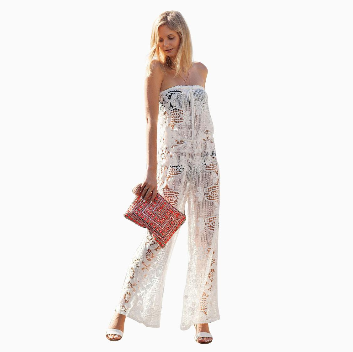 4a6d78107fa 2019 2015 Summer White Lace Women Playsuit Embroidery Floral Long Jumpsuit  Sexy Transparent Strapless Backless Rompers Beach Club Wear WI33 From ...
