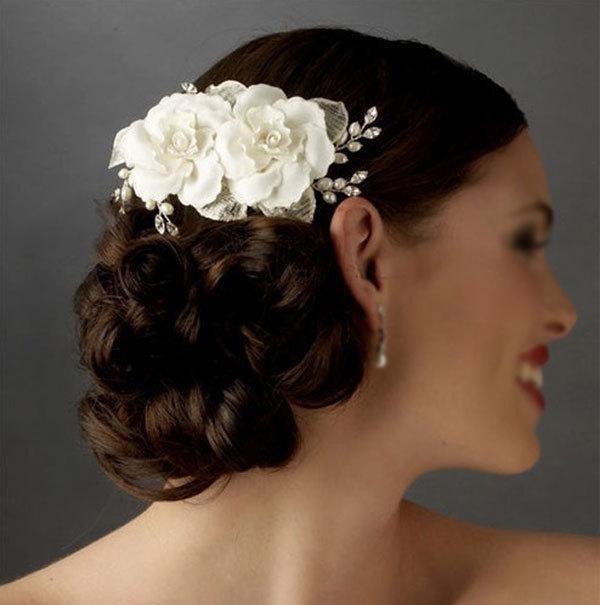 2015 tocado de pelo nupcial flores perlas flores hechas a mano cristal peine marfil nupcial velo boda accesorios Dhyz 01