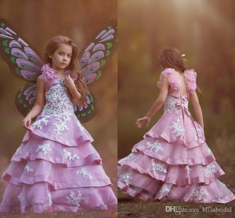 Fairy Purple Layered Organza Sequins Beaded Flower Girl Dresses With Appliques Lace Up Spaghetti Straps 2016 Kids Party Gowns