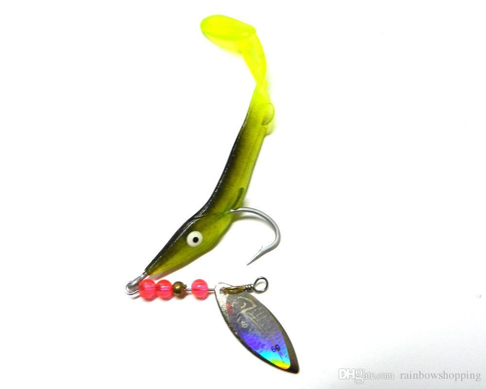 Oferta especial Venta Trulinoya Pesca con mosca Suave Gusanos de plástico Señuelos Cebo con zoom 6.2g Trolling Láser Cuchara de pesca con un solo gancho