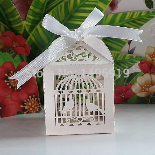 The New 2015 Laser Cut Birdcage Wedding Box In Pearlescent Paper