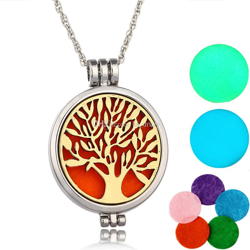 Fashion Tree of life Essential Oil Perfume Diffuser Locket Pendant Necklace Glow in the Dark with chain and Felt Pads