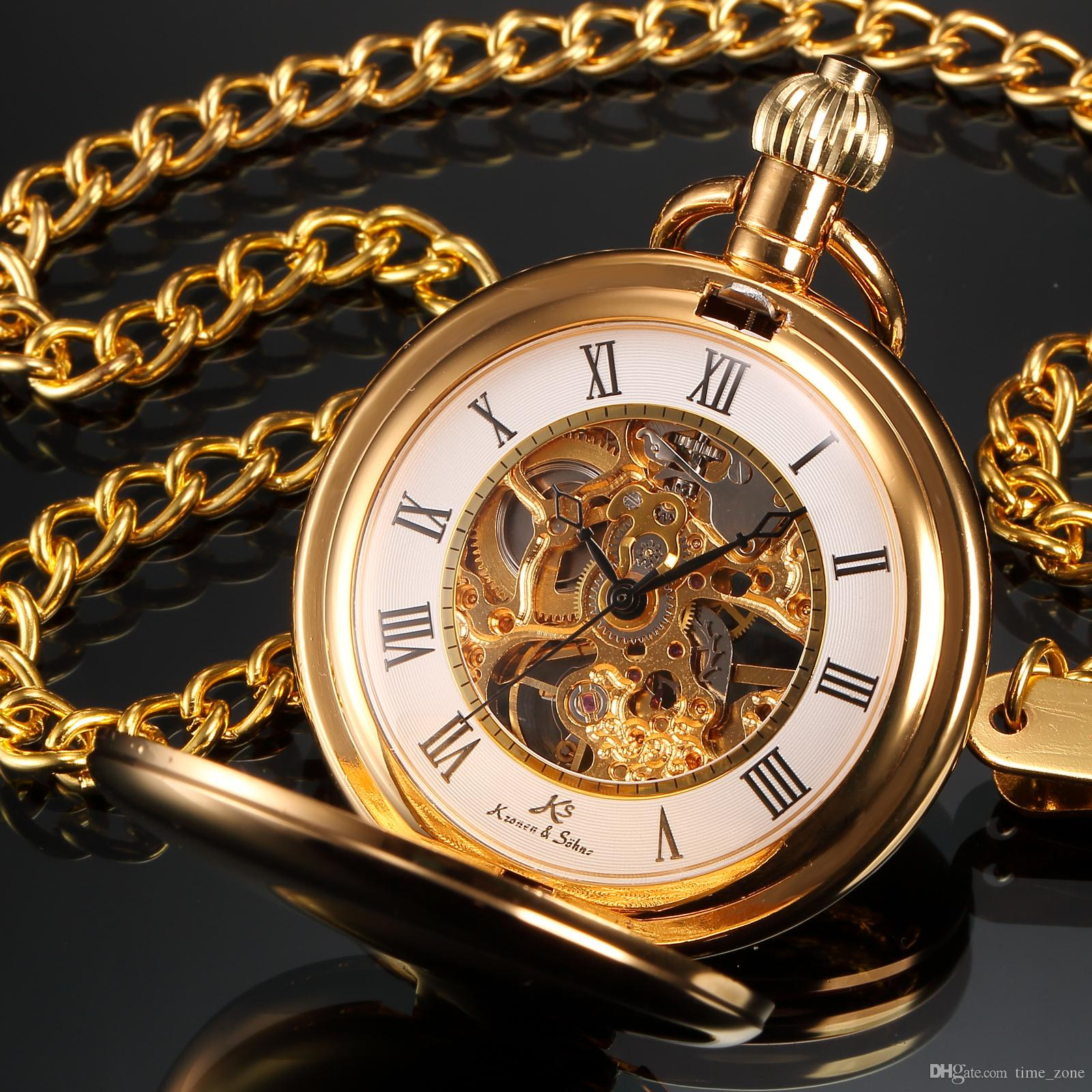 Mens pocket watches with chain images mens gold pocket watches gifts - Ks Pocket Watch Golden Best Luxury Watch Roman Numbers Golden Alloy Case Mechanical Handwinding Men S Pocket Watch Ksp008