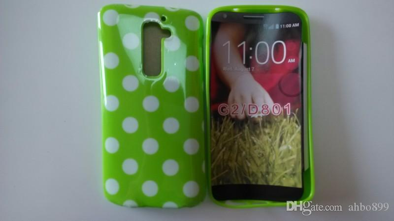 Wholesale Hot Lovely TPU Polka Dots Style Back Skin Cover Case For LG Optimus G2 D802 D801 Soft Phone Case Free