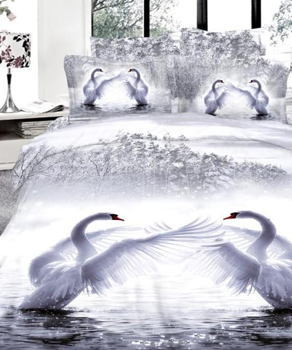 3d White Swan Bedding Set Cal King Size Queen Full Double Quilt Duvet Cover  Fitted Cotton Bed Sheets Bedspreads Doona Linen Full Comforter Set Grey ...