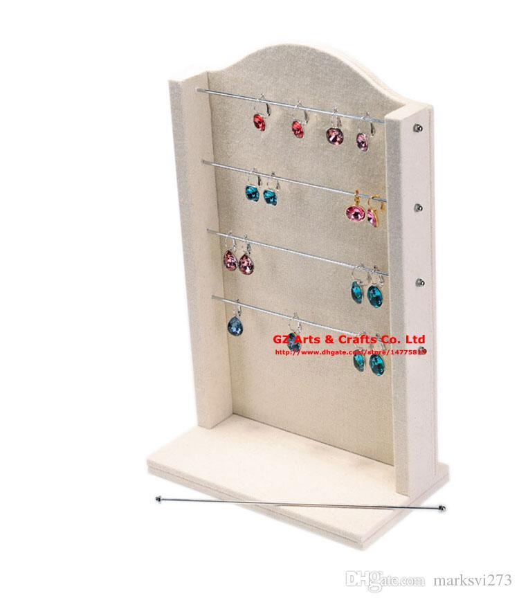 Yüksek dereceli Keten Küpe Yüzük Bileklik Takı Ekran Standı Tutucu Raf Beş Katlı Metal Kolye Depolama Organizatör Kurulları