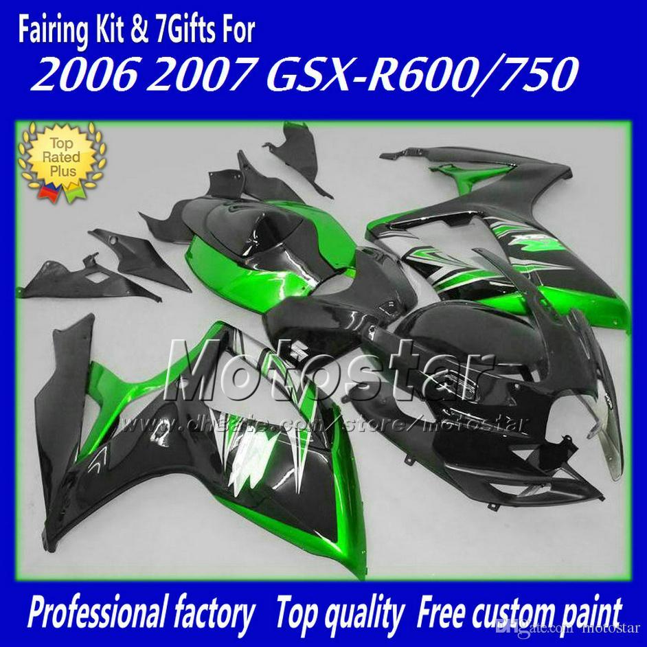 Kit de carénage ABS pour SUZUKI GSX-R 600/750 06 07 K6 GSX R600 R750 2006 2007 carénages noirs verts FD50 +7 cadeaux