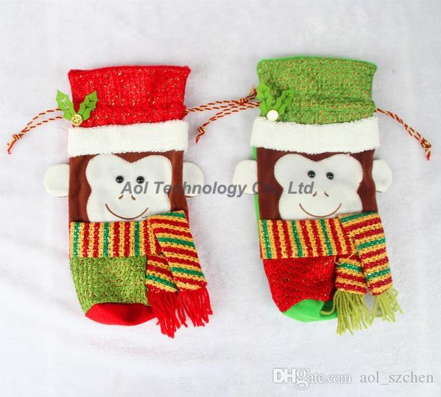 New Christmas Monkey pattern Red Wine Bottle Cover Bags Table Dinner Decorations New Year Party Decoration Gifts Ornaments