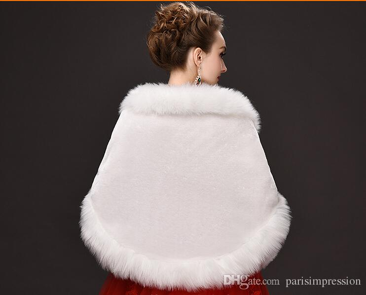 Classic Winter White Bridal Wraps Faux Fur Shrug Lapel Wedding Shawl Bride Prom Party Bridal Wraps Jacket Women Bolero Jackets