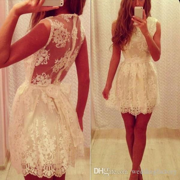 Vintage Ivory Lace Homecoming Dresses A Line Crew Neck Illsuion Back Cheap Custom Made Short Prom Party Gowns Inexpensive High Quality