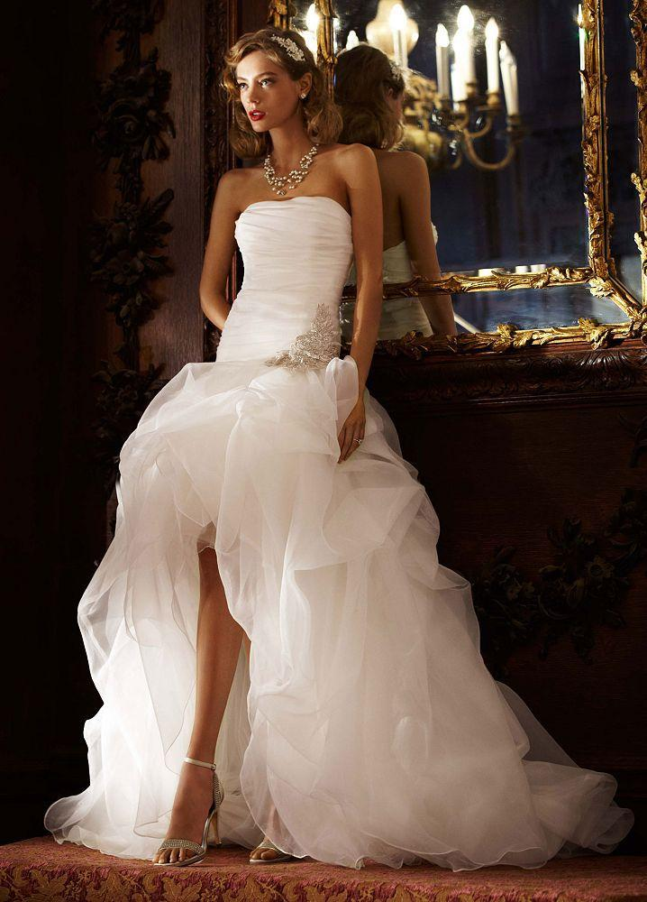 sexy short front long back wedding dress strapless organza ruffles high low beach bridal wedding gowns plus wedding dresses sale wedding dresses from