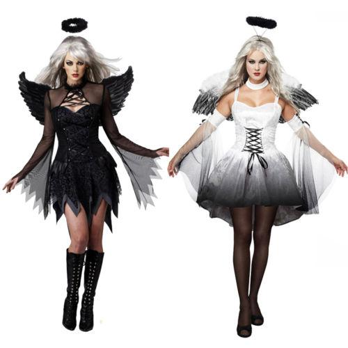 Cosplay Dress Women Sexy Black White Devil Costume Halloween Outfit