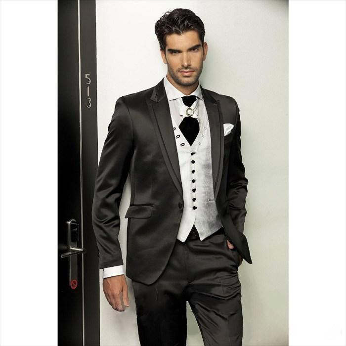 2015 Mens Suits Black Wedding Suits For Men Slim Fit Tuxedos ...