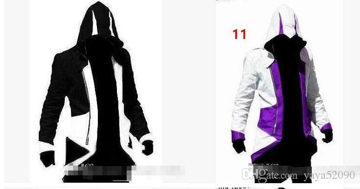 Haute qualité12 Couleurs Vente Chaude Design Sweats à capuche Assassins Creed 3 III Conner Kenway nhl Hoodies Manteau Veste Cosplay Costume Sweats pour les hommes