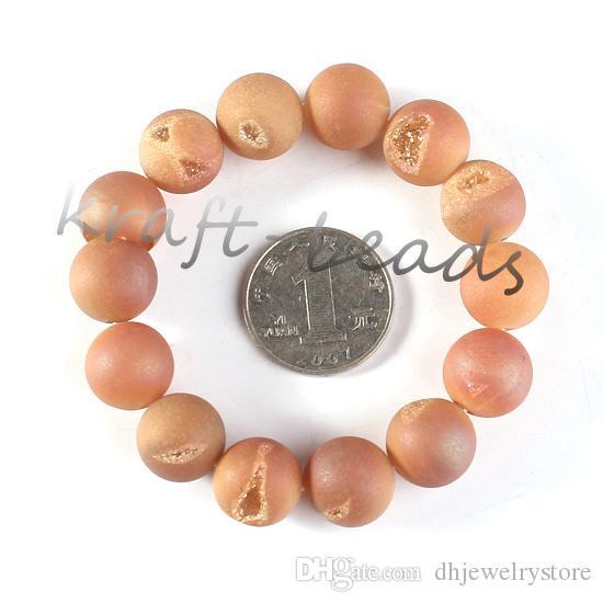 Подвески Нартуральные Титана кварцевый кристалл Агат Geode камень оранжевый цвет круглая форма бусины каменные браслеты ювелирные изделия