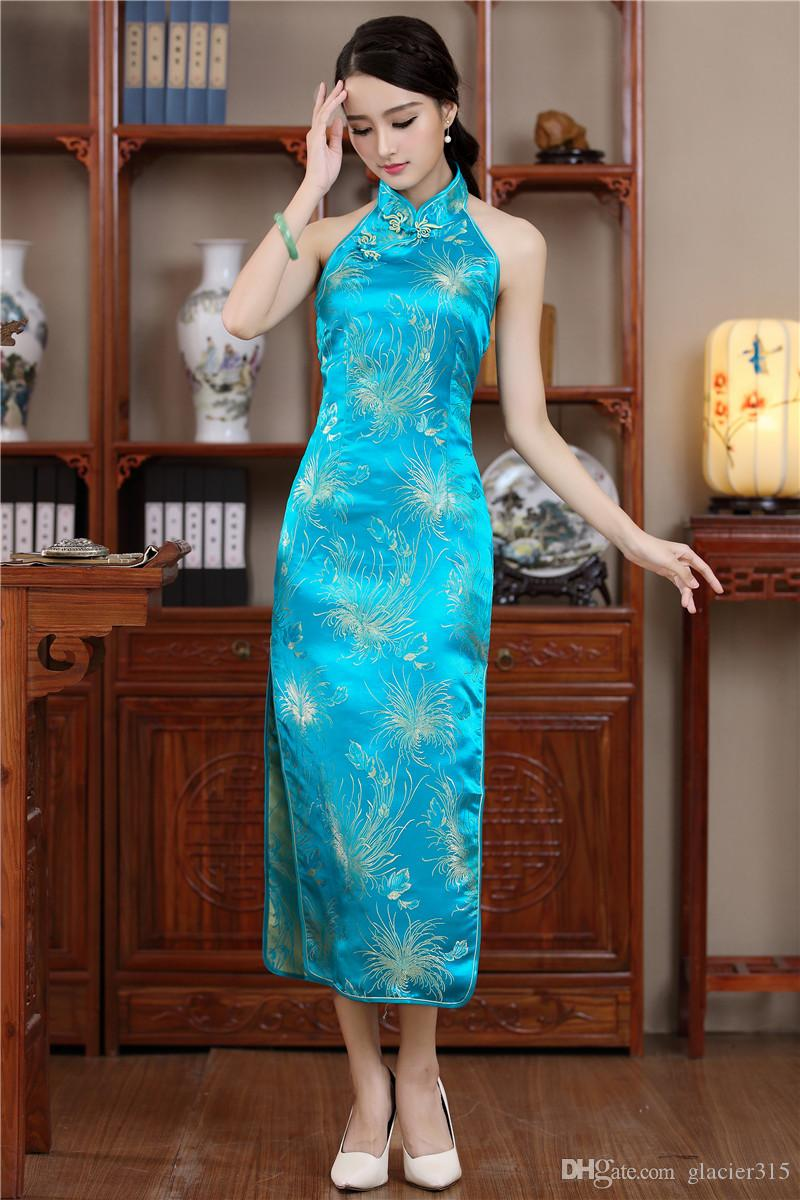 Shanghai Stor hot sale chinese traditional Red evening Dresses Traditional Chinese clothing Halter dress long cheongsam qipao