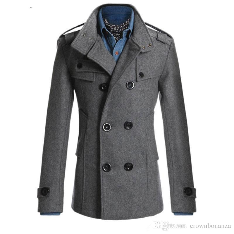 High quality Mens Overcoat Jacket Double Breasted Solid Slim Fit Coat Casual Trench Outerwear For Men