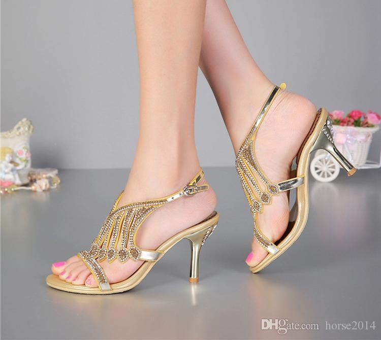 Offene spitze 3 Zoll Sommer Sexy High Heel Sandalen Silber Strass Hochzeitskleid Schuhe Frauen Mode Slingbacks Brautschuhe