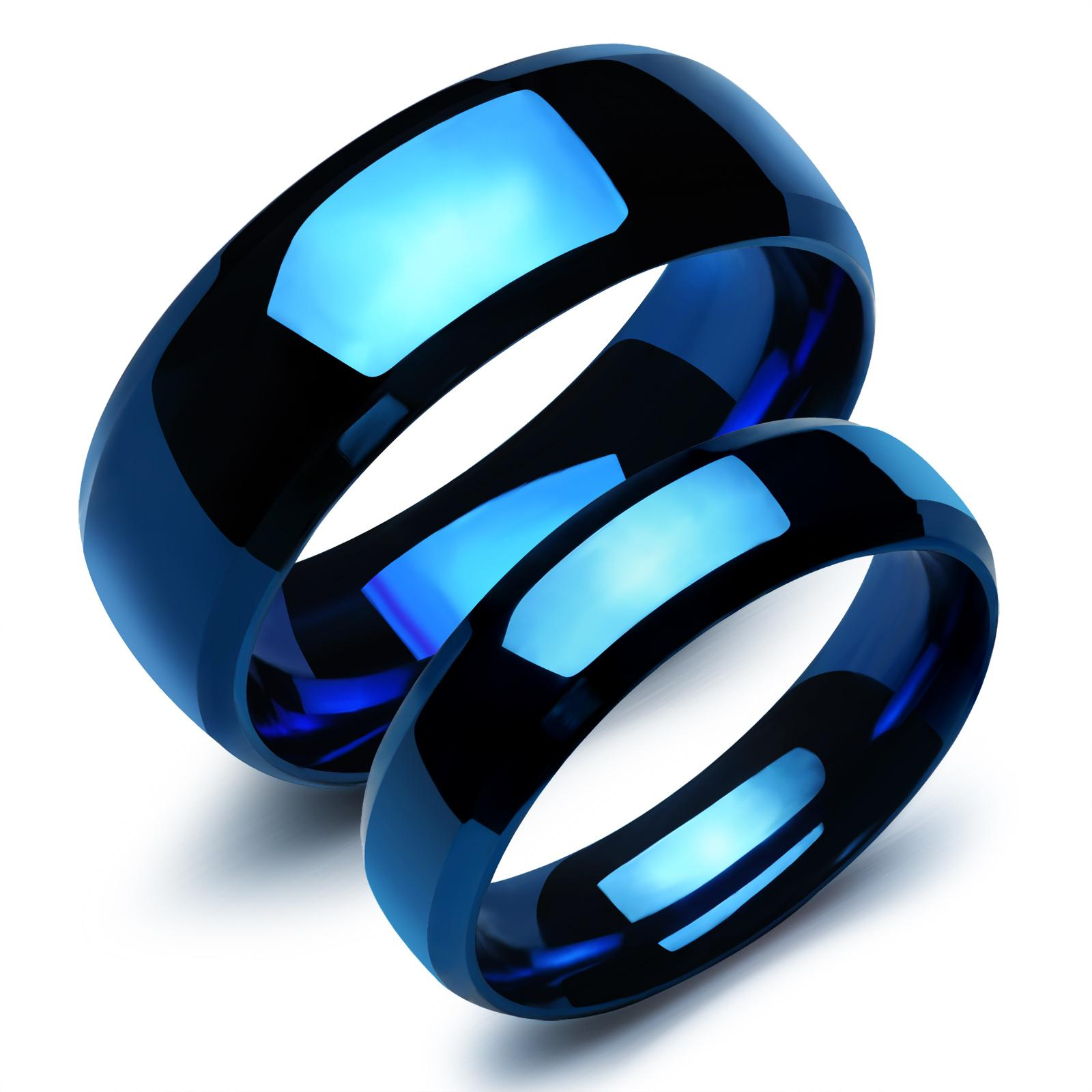 Fashion Stainless Steel Plain Rings For Lovers Blue Color Plated