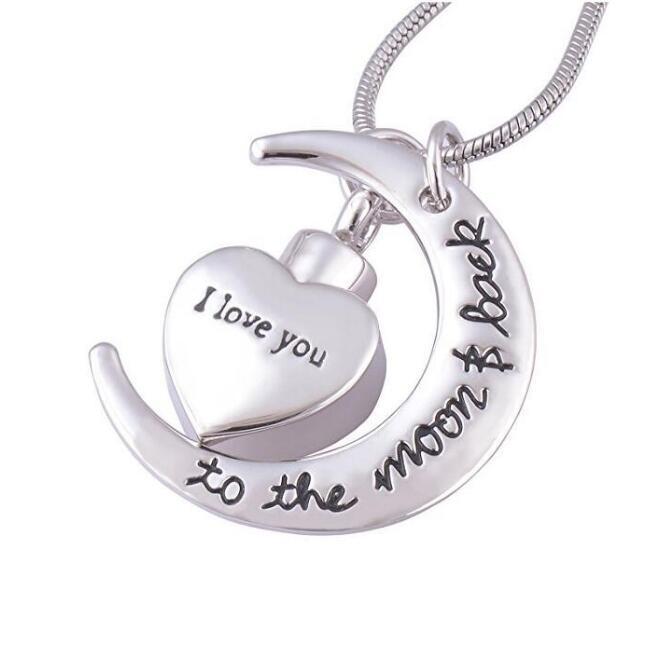 Je t'aime à la lune Memorial crémation bijoux en acier inoxydable funéraire cendres Urne pendentif collier