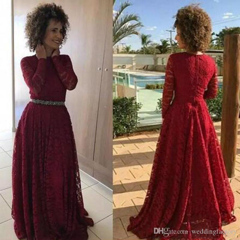 9687a6cf35a5 2018 Full Lace Mother Of The Bride Dresses Burgundy Dard Red Jewel Neck Long  Sleeve A Line Formal Evening Prom Party Gowns Custom Bride Of Mother Dress  ...