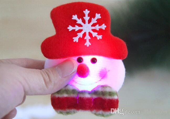 christmas 3.5inch flash cloth art brooch Santa Claus luminous brooch Christmas decorations Christmas gifts BP001P