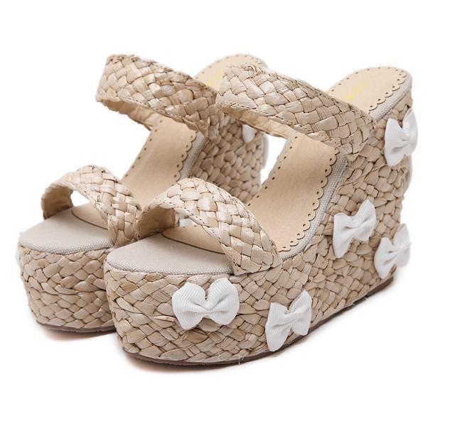 059ce76e15c Lena Vivi Bowtie Straw Woven Sandals Slippers High Platform Wedge Sandals  Women Shoes Size 35 To 39 Strappy Sandals Skechers Sandals From  Vivishoescity